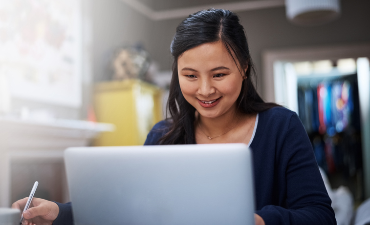 Woman completing PREP on laptop